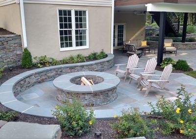 Firepit with sitting wall and patio